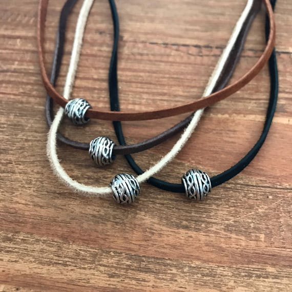 Bohemian Custom Leather Necklace Travelers Trail Wanderlust Gift Silver Celtic Bead Couples Jewelry New Raw Vegan Suede Choker Boyfriend Dad