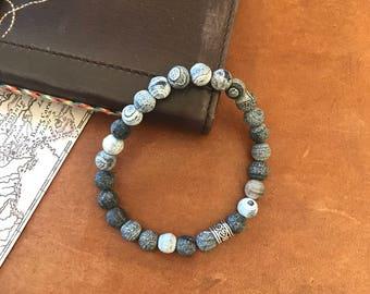 Black Beaded Bracelet Grey Agate Bracelet Inspirational Bracelet Fathers Day Gift Boyfriend Husband Stacking Semi Precious Stones Gifts