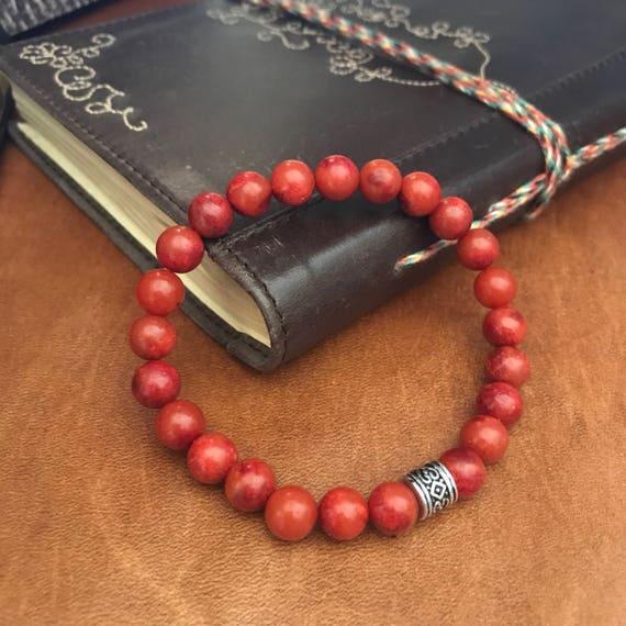 Coral Beaded Bracelet Red Coral Anklet Inspirational Bracelet Bohemian Gift Guide For Them Boyfriend Husband Ocean Beach Wedding Man Woman