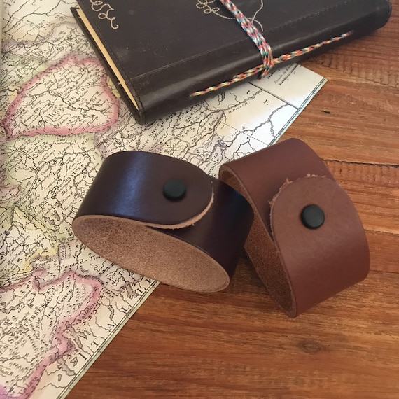 Leather Cuff Bracelet Travelers Gift Brown Leather Jewelry Wide Bracelet Husband Boyfriend Dad Groomsmen Graduation Gift under 25