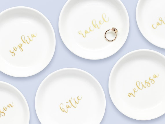 Custom color personalized ring dish gold rim ring dish or silver ring dish custom christmas gift for mom gift for daughter custom text