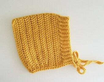 Ribbed pixie bonnet// crochet// 0-3 months //pixie bonnet// mustard