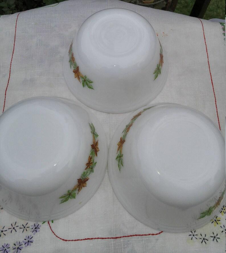 Vintage Mixing Bowls Federal Glass Salem Maple Leaf Medium Mixing Bowls 3 Available; Vintage Federal Glass Salem Maple Leaf Pattern