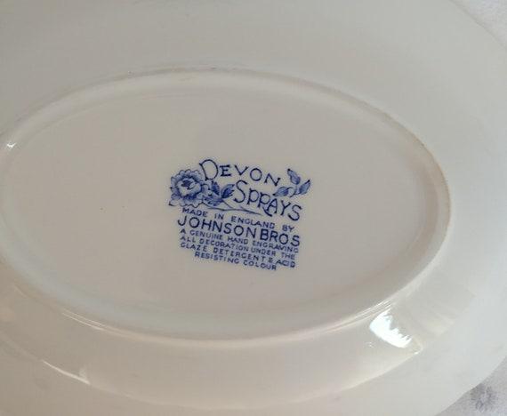 Johnson Brothers Devon Sprays Blue Transferware Serving Bowl; Vintage Johnson Bros Vintage Serving Bowl Devon Sprays Pattern Vintage Bowl