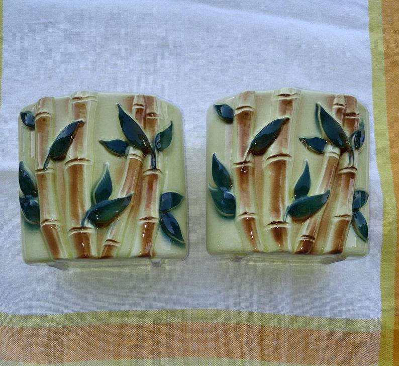 Royal Copley Planter Bamboo Figural Set of 2 Royal Copley Vase Vintage Royal Copley Pottery Figural Bamboo Planter