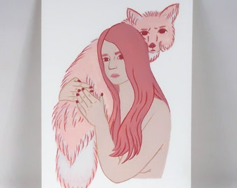 Pink Fox and Lady Original Illustration | fuhglyduckling, gouache, painting
