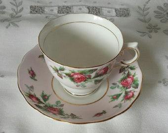 Colclough Pink Rosebud Teacup & Saucer