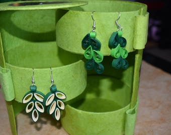 Green Quilled Paper Earrings