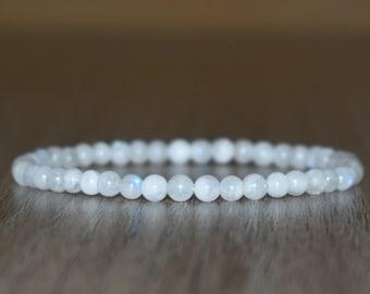 4mm White Moonstone Bracelet, Beaded Bracelet for Women, Layering Bracelet, Stretching Bracelet, Men Bracelet, Calming Bracelet