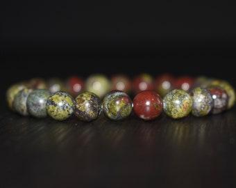 Bloodstone Bracelet, Dragon Bloodstone Bracelet, Bloodstone Jewelry, Men Bracelet, Women Bracelet, Healing Bracelet, Yoga Bracelet