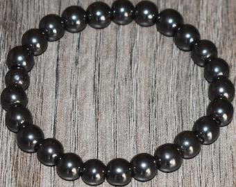 Natural Hematite Bracelet, Mind Bracelet, Root Chakra Bracelet, Layering Bracelet, Men Women Healing Bracelet, Stretch Bracelet, Yoga Energy