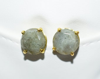 Natural Labradorite Earrings, Women Gift, Labradorite Stud Earrings, Natural Stone Earrings, Faceted Labradorite Post Earrings, Gift for Her
