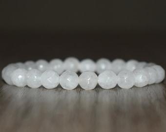 8mm Faceted White Jade Bracelet, Men Jade Bracelet, Women Jade Bracelet, Good Luck Bracelet, Bracelets for Women Men, Prayer Bracelet, Yoga