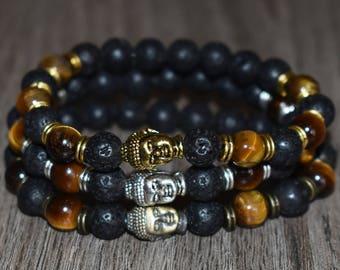 Buddha Bracelet, Tiger Eye Bracelet, Lave Bracelet, Buddha Head Bracelet, 7 Chakra Energy Bracelet, Yoga Bracelet, 8mm Meditation Bracelet