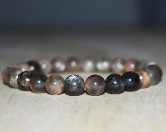 8mm Black Moonstone Bracelet, Moonstone Jewelry, Mens Bracelet, Meditation Bracelet for Women, Yoga Bracelet, Healing Bracelet