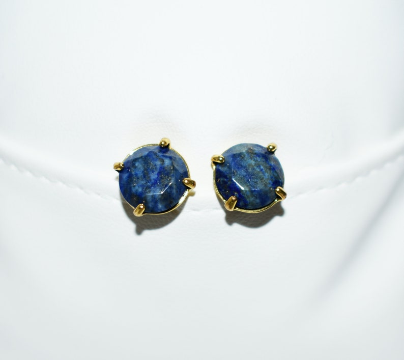 Healing Crystal Earrings Natural Lapis Lazuli Earrings December Birthstone Earrings Stud Earrings Faceted Lapis Lazuli Post Earrings