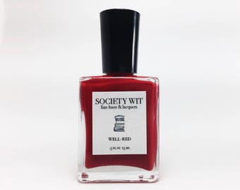 Red Nail Polish - Indie Nail Polish - Custom Nail Lacquer - 5-Free - Well-Red, Académique Collection