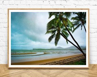 Seaforth Beach Wall Art Print, Tropical Coastal Prints, North Queensland Australia, Palm Tree Print, Beach, Sand, Mackay, Nature Gifts