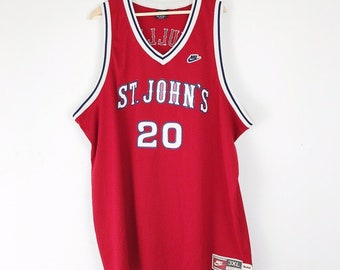 7fe51a56dec NIKE 90s Vintage St. John's University Chris Mullin Red Basketball Jersey /  Stitched & Sewn / Men's Size 3XL