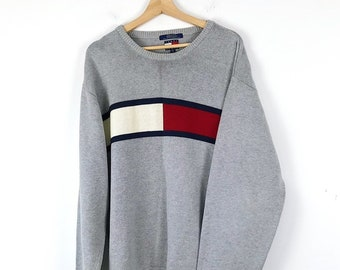 2a05b29b4 Vintage Tommy Hilfiger Gray Crewneck Sweater with Big Flag Logo / Men's XXL  / Great Condition