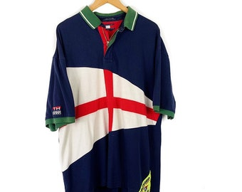 8bcd172d148 Vintage Tommy Hilfiger Sailing Gear Double Sided Big Flag Logo Colorblock  Polo Shirt / Men's Size XXL