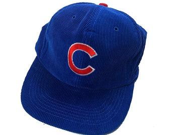 ed4dbc05 Vintage 80s Chicago Cubs MLB Baseball Blue Corduroy Snap Back Hat /  Embroidered Logo