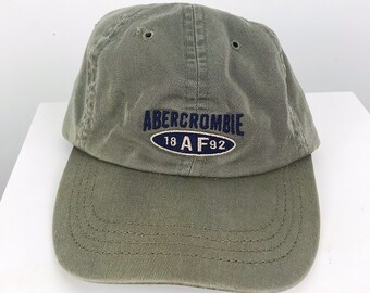 372bedc9024da 90s Vintage Abercrombie   Fitch AF Outdoors Strap Back Hat   Olive Green    Made in USA   Embroidered Design   Great Condition