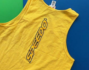 5df44183c1c4e SPEEDO Vintage Yellow Embroidered Logo Tank Top   Great Condition   Men s  Large   Front and Back Designs