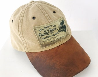 90s Vintage Polo Sportsman Ralph Lauren Rare Leather Bill Canvas Strap Back  Hat   Flannel Lined   Lots of Character fe1972f0a6ca
