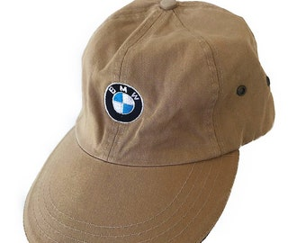 fe9651d7703 BMW Cars Vintage 90s Beige Tan Khaki Embroidered Logo Long Bill Strapback  Hat