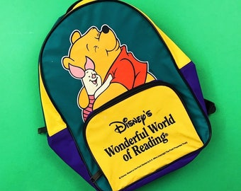 de50fc81349c 90s Vintage Disney Winnie The Pooh Wonderful World of Reading Kids  Colorblock Backpack Bag   Great Condition