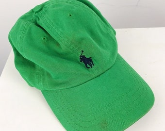 fe22a88e77f9f Polo Ralph Lauren 90s Vintage Green Embroidered Pony Logo Strap Back Hat