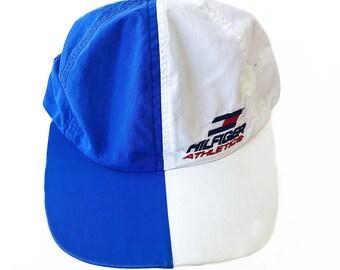 1785a516dab TOMMY HILFIGER Athletics Vintage 90s Split Colorblock Nylon Snapback Hat  Embroidered Logo