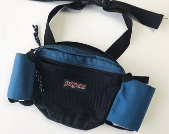 396ab529deb7 Vintage 90s Blue & Black Jansport Fanny Pack Waist Bag with Bottle Holders  / Perfect for Camping or Hiking / Rip-stop Nylon Material