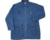 VINTAGE 90s Denim Co Button Front Cargo Jean Jacket with Cinch Waist Women 39 s Size Medium