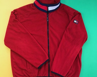 5f282398a TOMMY HILFIGER Vintage 90s Red Zip Up Fleece Jacket / Logo on Sleeve Back +  Collar / Great Condition / Men's XL