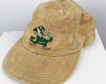 0515b6f852386 ... hot 90s vintage university of notre dame fighting irish khaki strap  back hat great pre owned