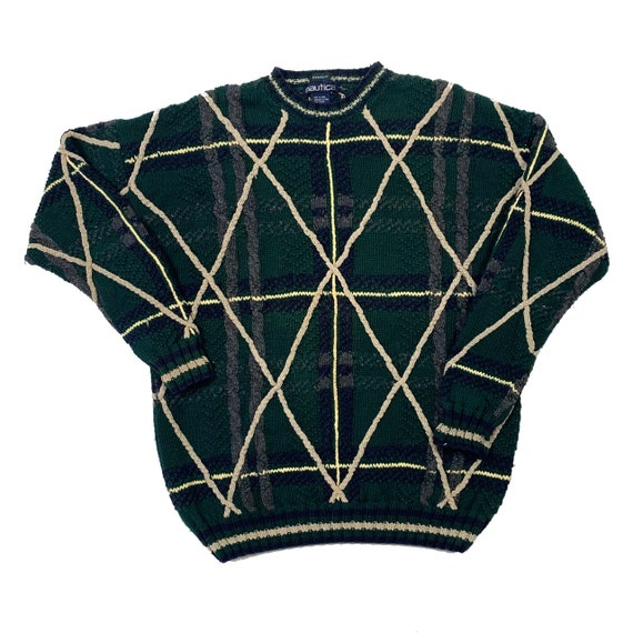 Nautica | Green Plaid Hand Knit Crewneck Sweater |