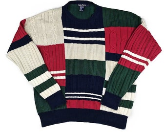 NAUTICA Vintage 90s Colorful Knit Colorblock Patchwork Sweater Size Men's Large