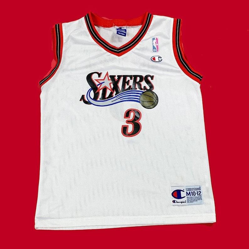 453fff455a9e3 Vintage 90s Champion Allen Iverson Sixers NBA Basketball Jersey / Kids Size  Medium