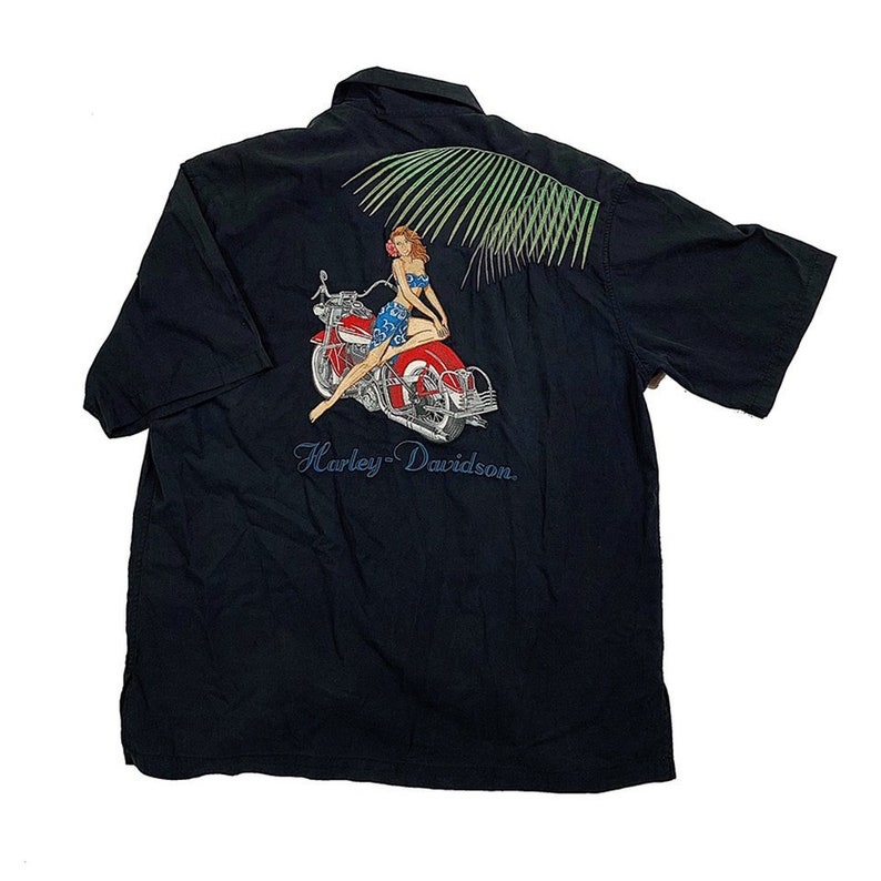 f27580e9ca6ee Harley Davidson Tropical Motorcycle Pin Up Girl Embroidered Button Up Shirt  / Silk Blend / Men's Size Large