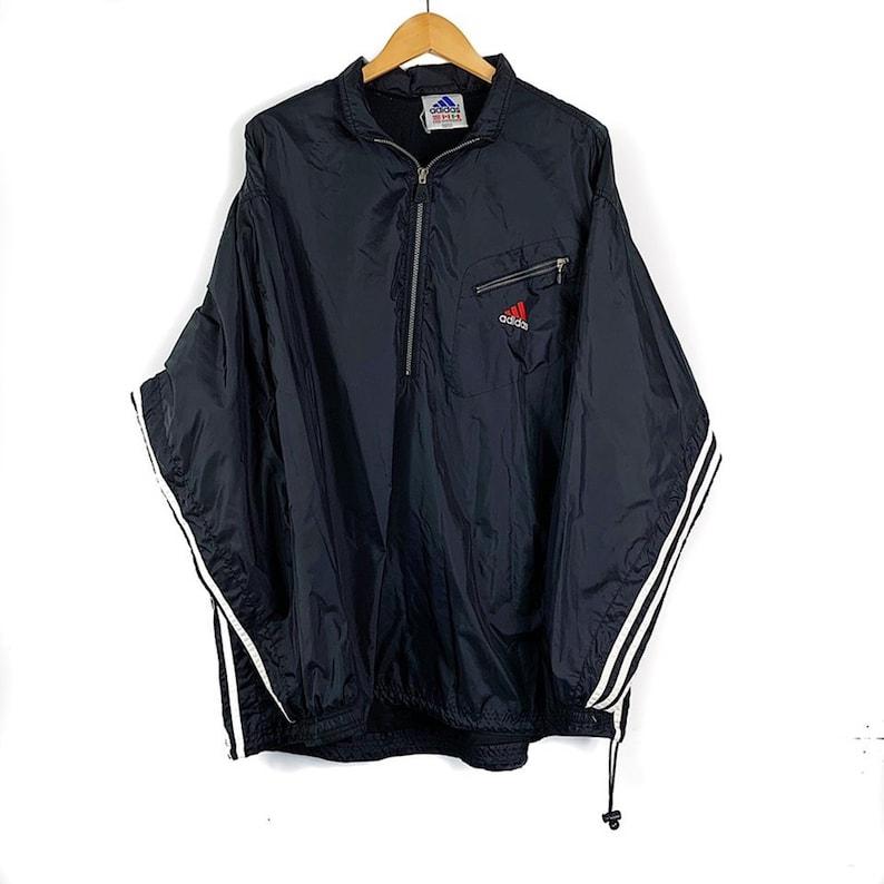 90s Vintage Adidas Pullover Windbreaker Jacket Embroidered Logo Men's Size XL