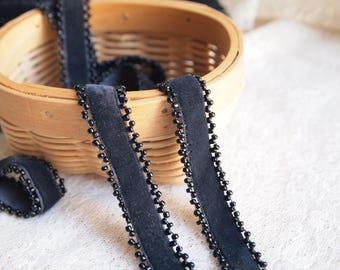 1 meter Velvet Ribbon with Black beads // L253