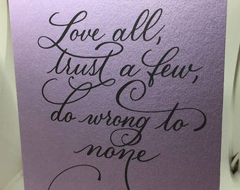 Shakespeare Quote, Modern Calligraphy, Greeting Card, Stationery, Blank Card, Calligraphy Card, Print, Stationery Card
