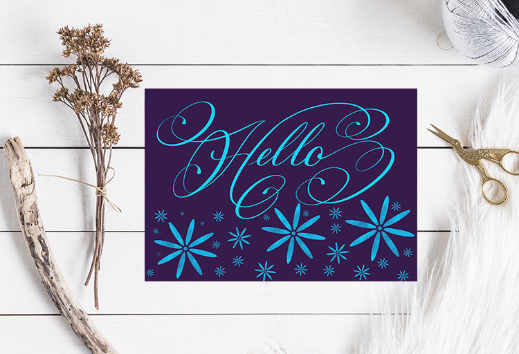 Hello With Flowers Greeting Card Calligraphy Card Elegant