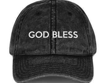 God Bless Hat Cap Christian Faith Religion Religious Pastor Bible Church God  Jesus Christ Devout Hip Vintage Cotton Twill Cap 9868c18abd97