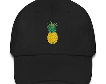 Pineapple Hat Tropical Rose Dad Hat Baseball Cap Polo Style Unconstructed  Dad hat 590a27b5e0d6