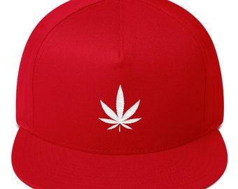 Marijuana Hat MAGA Cannabis Cap Weed Stoner Minimalist Leaf Logo Vape CBD  Accessory Dad hat Flat Bill Cap 06f37699404f