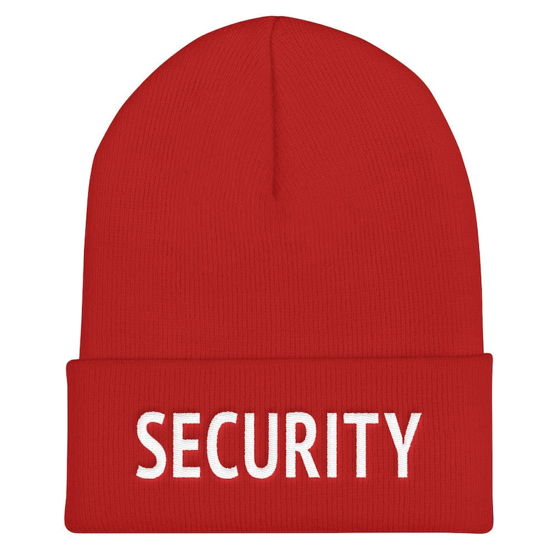 Security Embroidered Beanie Hat Doorman Guard Club Bouncer Winter Wooly Hat