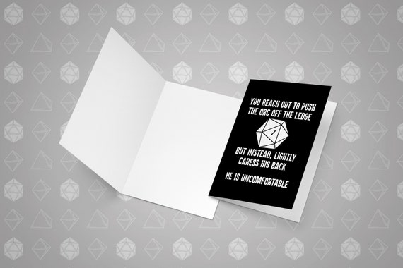 You Reach Out To Push The Orc Dnd Birthday Card Printable Digital Download Funny Dungeons Dragons D D Gift Dnd D And D